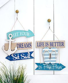 Coastal Wall Signs Feel like you're always near the beach with this Coastal Wall Sign. It features an uplifting phrase with nautical-themed embellishements and a rope hanger. Beach Cottage Style, Beach House Decor, Home Decor, Deco Marine, Nautical Home, Nautical Signs, Nautical Prints, Nautical Anchor, Beach Signs