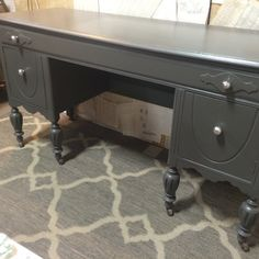 "This is a lovely vintage buffet that has been custom painted, lightly distressed and has new Mercury glass knobs. $169, 32"" x 60"". Would be great under a TV or in an entry. One long drawer and two doors open for storage. From dealer 110 at Jesse James Antique Mall"