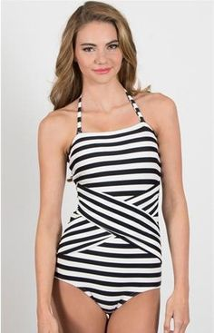Cabana Stripe Maillot -- Black from DownEast Basics Modest Swimsuits, Vintage Swimsuits, Cute Swimsuits, Modest Fashion, Fashion Outfits, Swimwear 2014, Striped Swimsuit, Bikini, Summer Wear