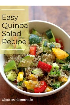 Easy Quinoa Salad – Quinoa is Gluten-free, high in fiber, minerals and a rich source of protein. It is considered a super grain. It doesn't make much time to cook and can be eaten as a vegetable salad, fruit salad Quinoa Fruit Salad, Quinoa Salad Recipes Easy, Vegetarian Salad Dressings, Vegetarian Side Dishes, Chaat Masala, Sauteed Vegetables, Vegetable Salad, How To Make Salad, Nutritious Meals