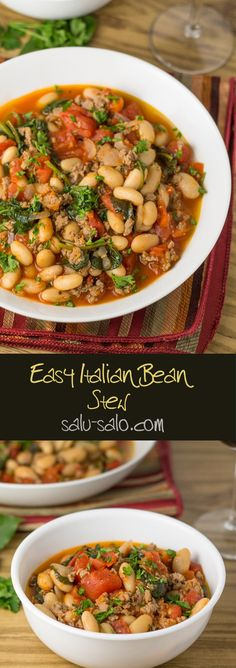 In this easy Italian bean stew recipe, turkey sausage is browned and then simmered along with the diced tomatoes and beans. Spinach is added afterwards.
