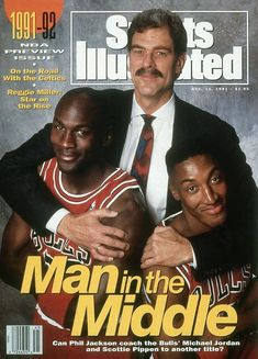 Chicago Bulls Sports Illustrated Pro Basketball cover with Phil Jackson, Michael Jordan and Scottie Pippen. My basketball inspirations. I never missed a practice nor game. Phil Jackson, Jordan Jackson, Scottie Pippen, Basketball Legends, Basketball Players, Nba Players, Sports Teams, Sports Illistrated, Sports Pics