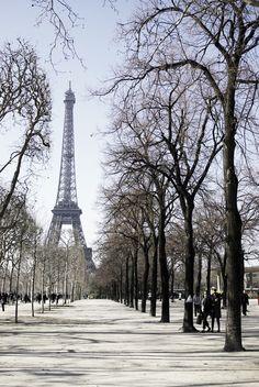 Le Champ-de-Mars en hiver, Paris, France