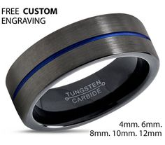 GUNMETAL Tungsten Ring Black Blue Wedding Band by BellyssaJewelry