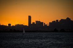 San Francisco Skyline Sunset San Francisco Skyline, New York Skyline, Sailing, Celestial, Sunset, Photography, Travel, Outdoor, Candle