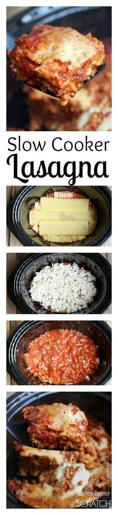 Slow Cooker Lasagna makes one of my favorite dishes soo EASY! You don't even have to boil the noodles! Recipe on TastesBetterFromScratch.com