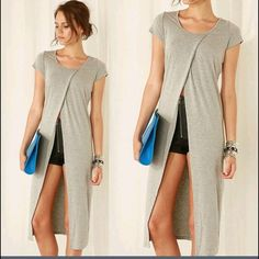 New Gray Maxi Dress, Top, Tunic, Slit Front, S New with tags gray long maxi tee, dress with slit front. Tag says L but best fit for a S or possibly petite M. Ask for measurements of needed. Can be used as swim cover up, or a tee shirt, or a tunic. Many ways to wear it. Tops Tunics