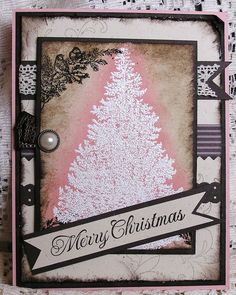 "Christmas Card Stampin' Up"" Hand - like white embossing with inking around it"