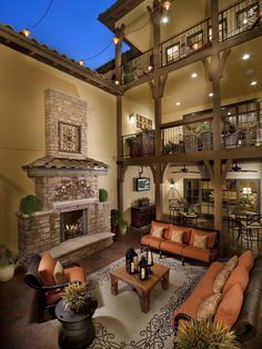 Old-world Outdoors from Celebrity Communities on HGTV. LOVE the 3 tier deck!