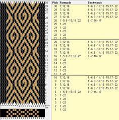 22 tarjetas, 2 colores, repite cada 10 movimientos // sed_312 diseñado en GTT༺❁