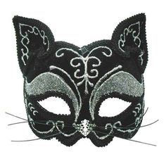 Black & Silver Decorative Cat Mask on Headbank Masquerade Halloween Animal