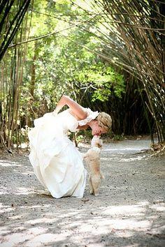 bride and dog kissing!!!