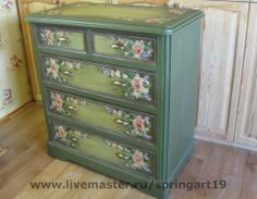 green painted drawer chest