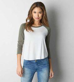 04c98e0cb See more. AEO Soft & Sexy Baseball T-Shirt - Free Shipping Olive Green  T Shirt