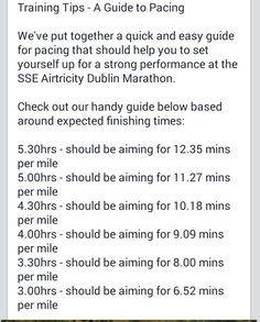 Training pace tips