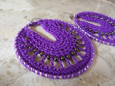 So pretty! Purple Crochet  Hoop Earrings by NaturallyWonderful on Etsy, $15.00
