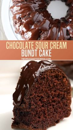 Chocolate Sour Cream Bundt Cake You will love this easy homemade chocolate cake because of its moist layered cake! You'll be surprised about its little secret why chocolate sour cream bundt cake d Pound Cake Recipes, Easy Cake Recipes, Cookie Recipes, Dessert Recipes, Breakfast Recipes, Dinner Recipes, Elegante Desserts, Chocolate Bundt Cake, Chocolate Cream