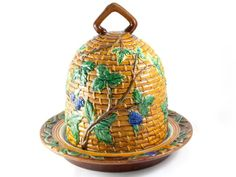 c1880 Minton Majolica Large Beehive Cheese Dome