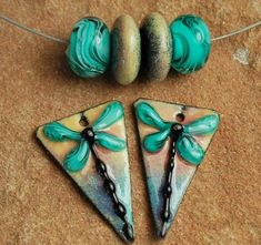 Enameled Copper Charms, Earring Beads, Lampwork Beads, Enamel Components, DragonFly  #996 by CC Design