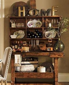 inspiration for a workbench & wine crate combo hutch