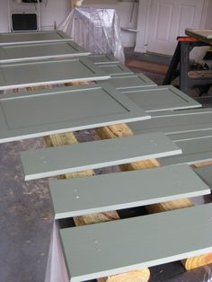 Painting Cabinets, I don't think I'd be brave enough to do green, I'm thinking ours will be white to brighten up the kitchen