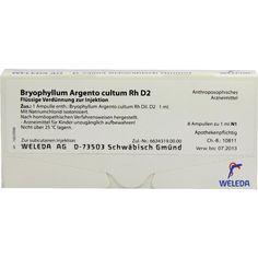 BRYOPHYLLUM ARGENTO cultum Rh D 2 Ampullen:   Packungsinhalt: 8X1 ml Ampullen PZN: 01618015 Hersteller: WELEDA AG Preis: 12,49 EUR inkl.…