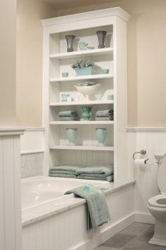 15 Stylish Eclectic Bathroom Design Ideas bathroom storage >> Love this! ideas for a small bathroom Mirror in bathroom: Decorating With Mirr. Small Bathroom Storage, Small Bathrooms, Bathroom Shelves, Bath Storage, Storage Spaces, Storage Shelves, Bath Shelf, Compact Bathroom, Towel Storage