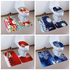 3PCS Home Christmas Toilet Coral Fleece Foot Pad Seat Cover Bathroom Sets Xmas
