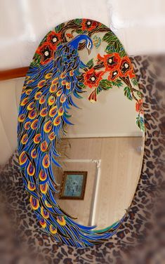 Looking Glass: Ceramic & Glass Peacock Mirror Stained Glass Mirror, Mirror Mosaic, Mosaic Art, Mosaic Glass, Mirror Glass, Glass Ceramic, Mosaics, Peacock Crafts, Peacock Decor