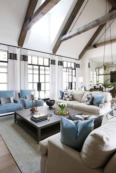 Cape Cod Colonial home with a modern contemporary twist in Nashville transitional-living-room Coastal Living Rooms, Living Room White, Living Room Modern, Small Living, Living Area, French Country Living Room, Transitional Living Rooms, Transitional House, Family Room Design