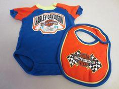 Harley Davidson Outfit 3/6 M Months One Piece Bib Infant Orange Blue #HarleyDavidson #Everyday