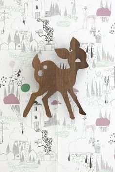 This In the Rain wallpaper is so en-deer-ing!!!!     via ferm living