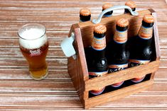 Detailed DIY plans to build a beautiful oak beer tote. Step-by-step plans with photos are so easy yo momma could build it!