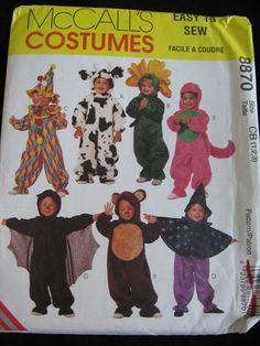 McCalls 8870 Toddlers Girls Boys Clown Dinosaur Bat by Vntgfindz
