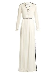 NY/ Russel contrast-piping silk-georgette gown | Gabriela Hearst | MATCHESFASHION.COM US