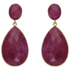 Dyed Ruby Drop Earrings (475 PEN) ❤ liked on Polyvore featuring jewelry, earrings, ruby earrings, ruby jewelry, ruby drop earrings, ruby jewellery and drop earrings