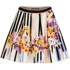 Alberta Ferretti - Printed Cotton Skirt found on Polyvore