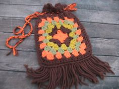 vintage groovy hippie crochet granny square purse handbag w fringe orange boho