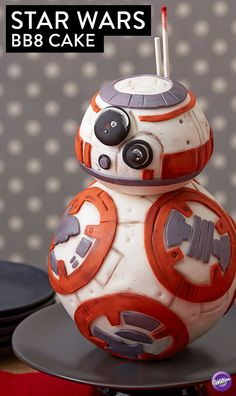 This BB8 cake is the perfect centerpiece to your Star Wars party! It combines two of everyone's favorites: cake and crispy rice cereal treat.