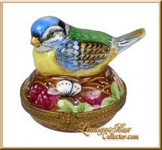 Bluebird on Floral Nest Limoges Trinket Box (Beauchamp).
