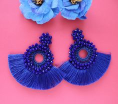 Royal Blue Round Beaded Crochet Tassel Fringe Trim Hoop | Etsy