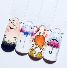 Great Seasonal Nail Art by Kasia. Cute Nail Art, Cute Nails, Pretty Nails, Winter Nail Art, Autumn Nails, Nail Art Hacks, Gel Nail Art, Cartoon Nail Designs, Korea Nail