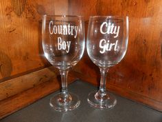 NEW ITEM!  Country Boy and City Girl Etched Wine Goblets - Couples Gift Idea by TreasuresShop on Etsy