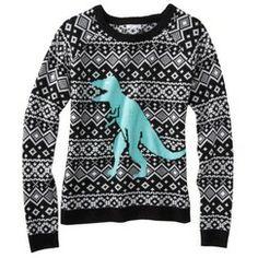 Xhilaration® Juniors Dinosaur Sweater - Black/White