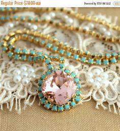 Blush Pink Necklace Pink Turquoise Swarovski necklace by iloniti