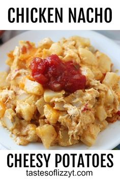 Nacho Cheesy Potatoes…Your favorite cheesy potato casserole gets an upgrade with shredded chicken, nacho cheese soup and crushed tortilla chips. Shredded Chicken Recipes, Easy Baked Chicken, Baked Chicken Recipes, Cheesy Chicken, Potato Recipes, Beef Recipes, Recipies, Cheesy Potato Casserole, Cheesy Potatoes