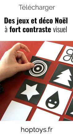 Comme vous le savez, Hop'Toys a toujours à cœur de proposer des activités accessibles à tous. Aujourd'hui, nous vous proposons de télécharger 3 activités sur le thème de Noël. Ces activités à fort contraste visuel seront adaptées à tous les enfants, mais en particulier aux enfants malvoyants. Theme Noel, Comme, Playing Cards, Games, Infancy, Children, Bricolage, Playing Card Games, Gaming