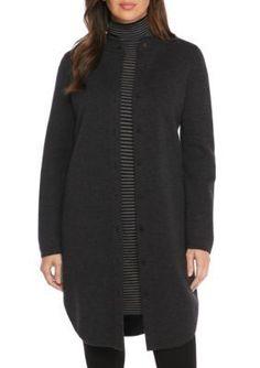 Eileen Fisher Women's Mandarin Collar Cardi - Char - Xxs