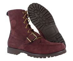 #PoloRalphLauren  Ralph Lauren Mens Ranger Lace Up Maroon Red Leather Shoes Hiking Boots 13 M #Polo