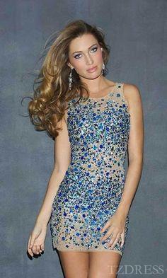 Cute Lace Natural Sleeveless Bateau Blue Prom Dresses Sale tzdress4942